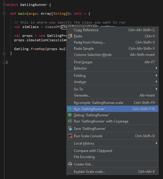 Run GatlingRunner in Intellij