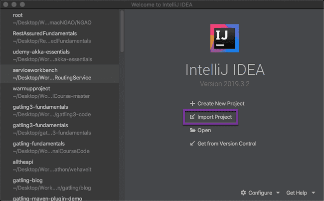 Import IntelliJ Gatling project