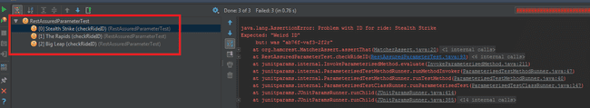 IDE shows tests failed
